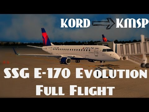 SSG E-170 Evolution Full Flight - X-Plane 10 - KORD | KMSP