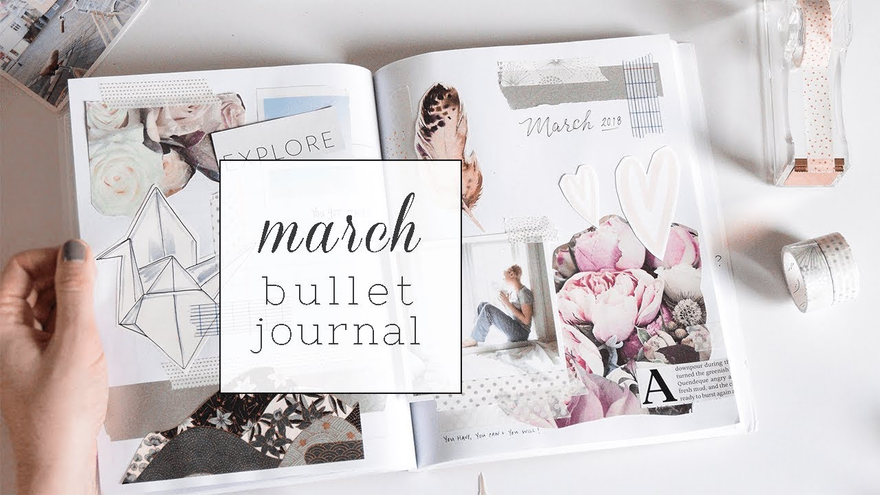 bullet journal collage   minimal march layout