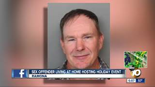 Sex offender living at home hosting holiday event