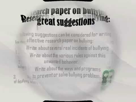 Research Paper on Bullying Guidelines