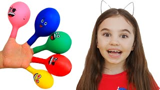 Pretends to play with her Magic balloon - Preschool toddler learn color