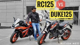 KTM RC 125 vs KTM DUKE 125 Comparison | Features | Price | Mileage | Top Speed