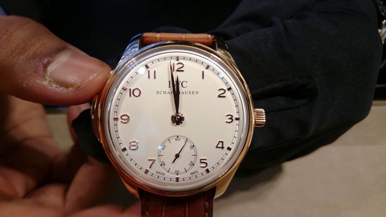 Red gold iwc portugaise répétition minutes white dial replica watch