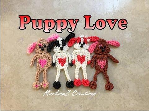 Rainbow Loom Valentine's Puppy -  DIY Loom Bands