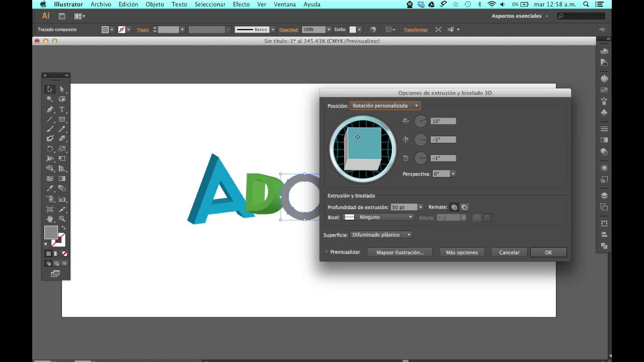 Como Crear Texto 3d En Adobe Illustrator Youtube