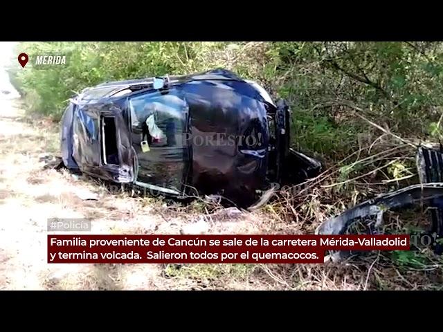 Vuelca familia en la Mérida-Valladolid