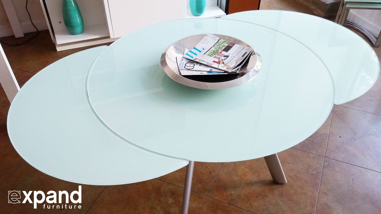 Butterfly Round Glass Extending Table Demonstration YouTube - Round extendable dining table seats 8
