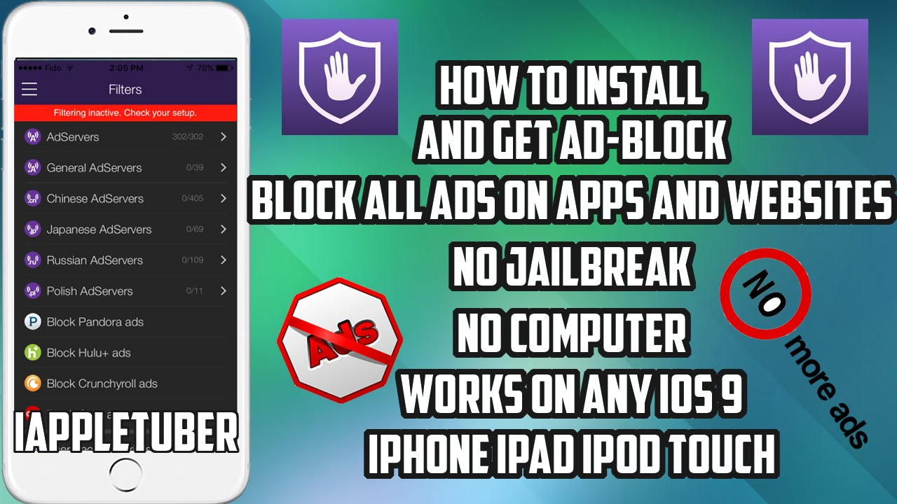 How To Install AD Block And Remove AD's On Apps and Websites FREE on iOS 9  - 9 3 2 (No JB)
