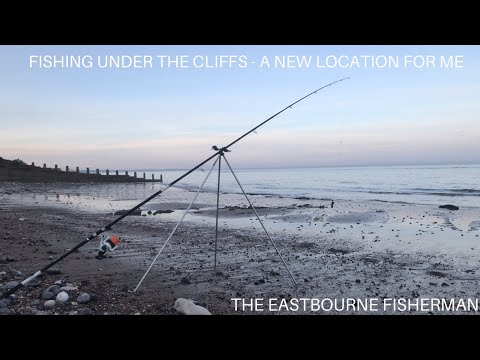 SEA FISHING EVENING INTO NIGHT IN EASTBOURNE EAST SUSSEX - FISHING UNDER CLIFFS IN NEW LOCATION
