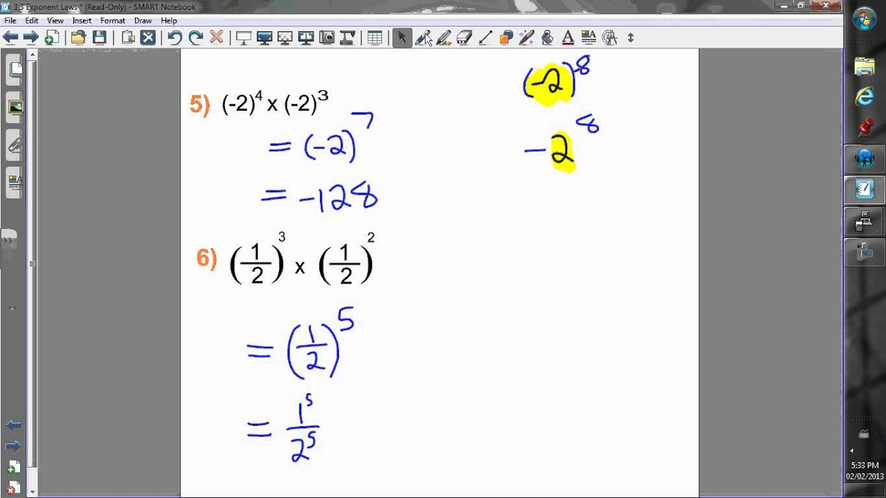 3 3a Exponent Laws