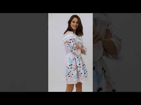 Video: Modna sukienka hiszpanka w kwiatowe hafty