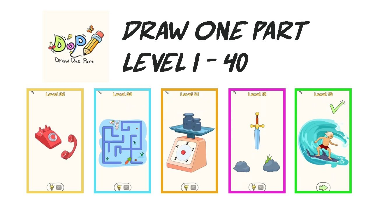 Draw One Part Level 1 40 Dop Drawing Puzzle Game Youtube