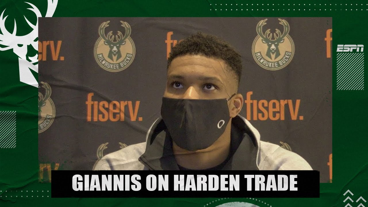 Giannis Antetokounmpo reacts to James Harden being traded to the Nets | NBA on ESPN