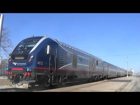Siemens Charger's Lead Amtrak Trains, Effingham, IL, 1/25/18
