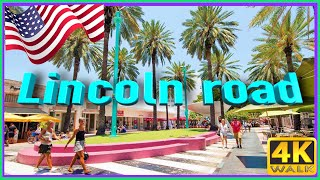 【4K】WALK Miami Beach 4k LINCOLN Road people in South Beach Miami Florida 4k documentary USA 2019
