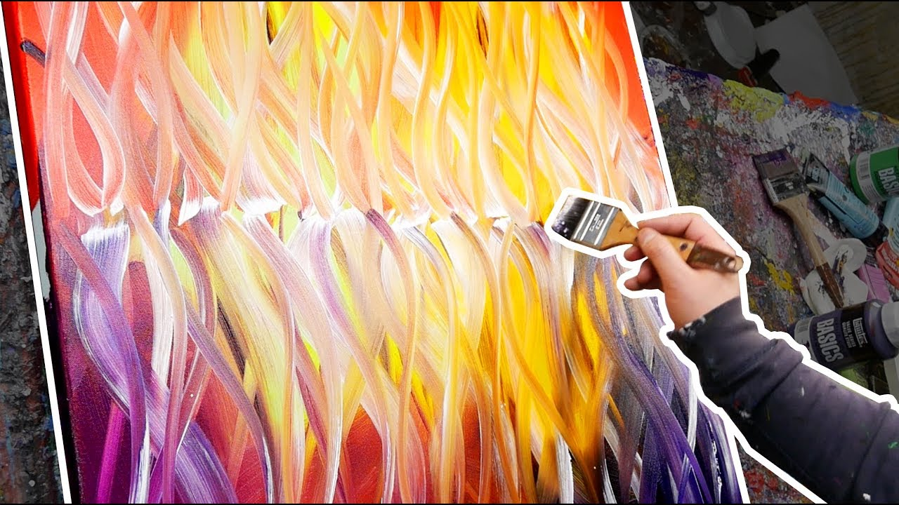 Creation Of An Abstract Painting With Warm Colors Collapse John Beckley