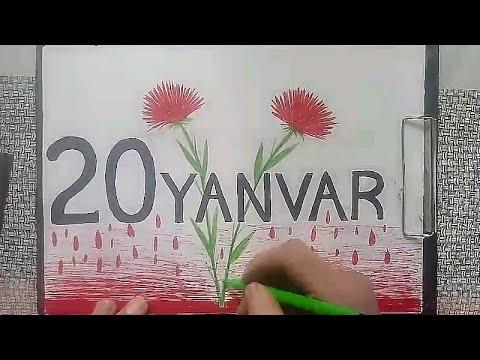 20 Yanvar Sekilleri Cekmek Qerenfil Sekli Cəkmək Youtube