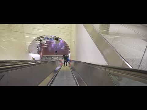 Sweden, Stockholm, night walk from Sheraton Hotel to Central Station, 3X escalator - going down