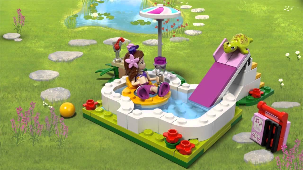 lego friends piscina din gradina oliviei 41090 youtube