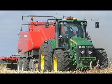 John Deere 8530 Baling Canola Big Bales w/ Massey Ferguson 2190 Big Baler | Danish Agriculture 2018