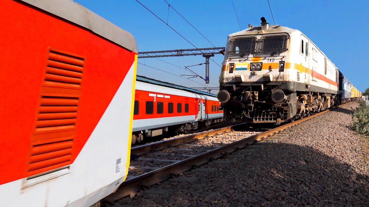 5 In 1 RAILROAD VIDEOS | AK Rajdhani Crossing & Overtake | Indian Railways