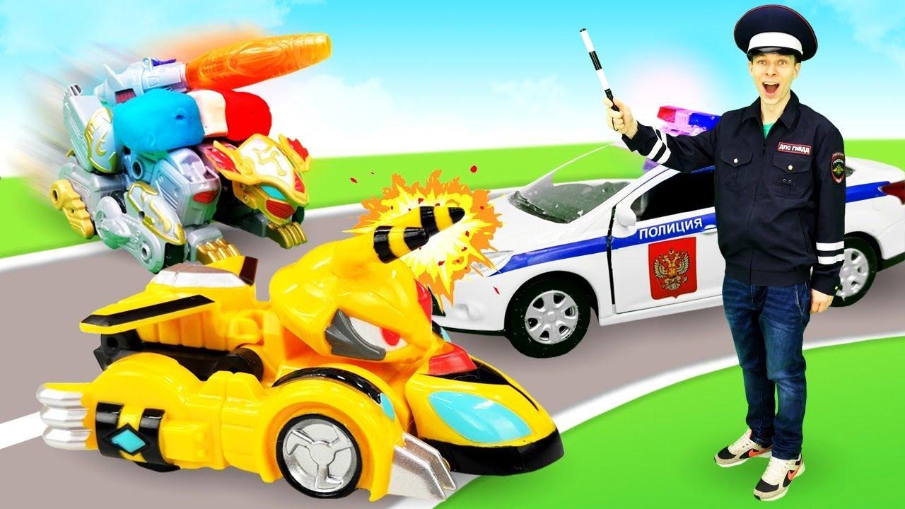 Монкарт стал полицейской машиной! Видео для детей. Автомастерская.