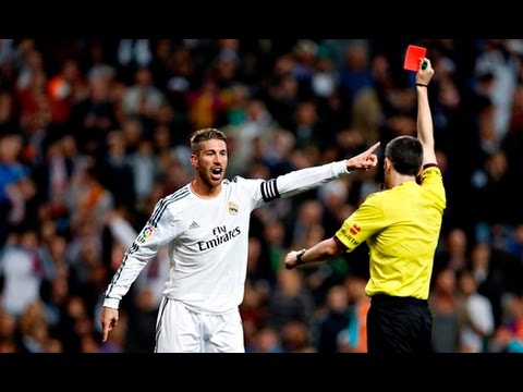 ramos red card on la liga el clasico 03 04 2016