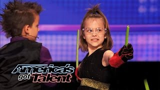 Dom the Bom's Triple Threat: 8-Year Old Triplets' Hot Card-Throwing Act - America's Got Talent 2014