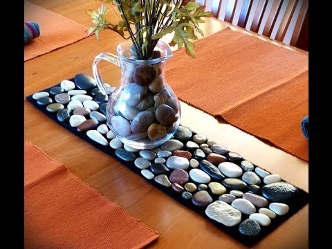 make a table runner from found beach rocks youtube. Black Bedroom Furniture Sets. Home Design Ideas