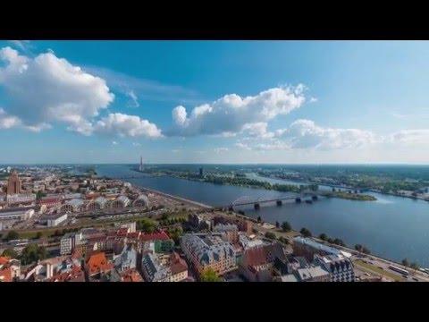 Aerial 360° Panorama of Riga | 4K video