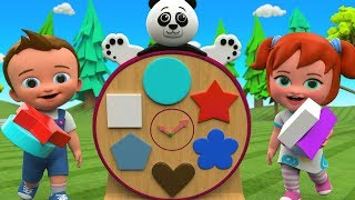 Learning Shapes for Kids with Little Babies Fun Play with Panda Clock Tower Shapes Toy Set 3D Edu