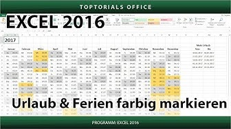 Urlaub und Ferien im Kalender farbig markieren (Excel)