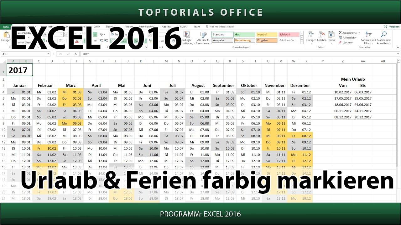 Urlaub und Ferien im Kalender farbig markieren (Excel) - YouTube