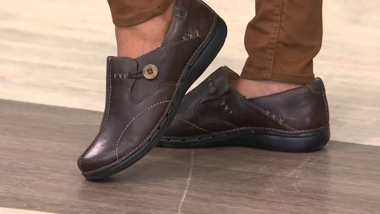 Clarks Unstructured Leather Slipon Shoes  Un Loop on QVC
