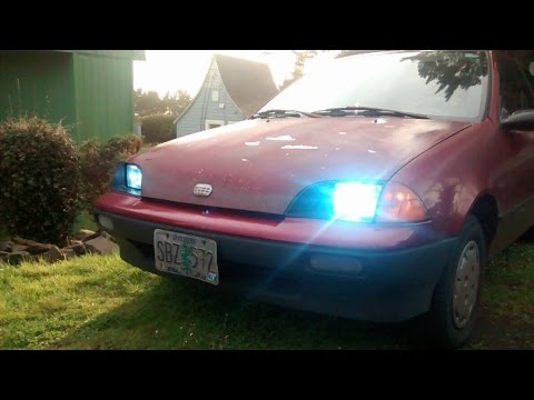 Geo Metro Sealed Beam to HID Conversion - YouTube