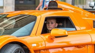 BEAUTIFUL 21yo BLONDE GIRL DRIVES HARD A GUMPERT APOLLO SPORT - BURNOUT and BRUTAL SOUND 2016 HQ