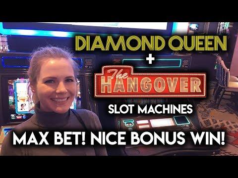 MAX BET BONUS WIN! Hangover and Diamond Queen Slot Machines!