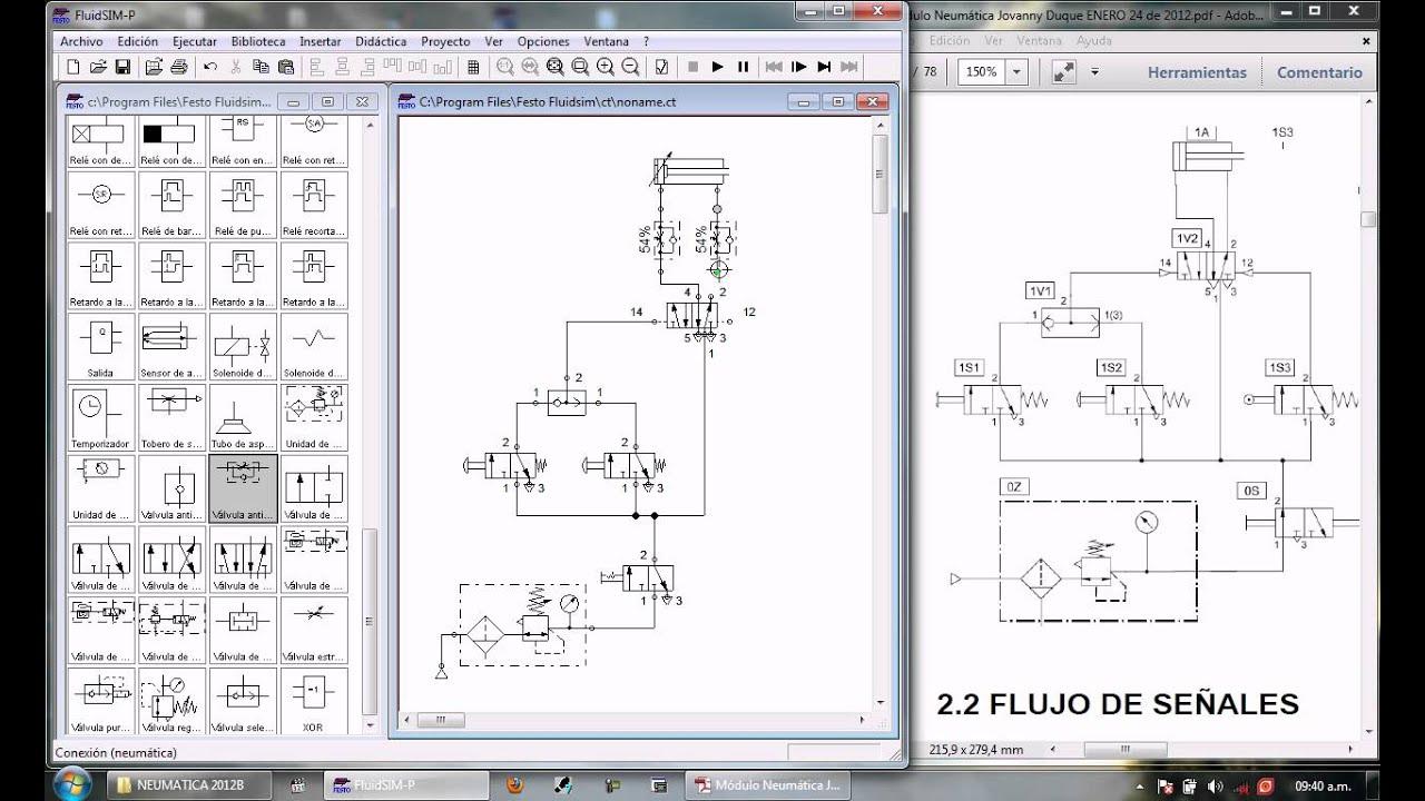 Circuito Neumatico Basico : Neumatica circuito básico fluid sim .avi youtube