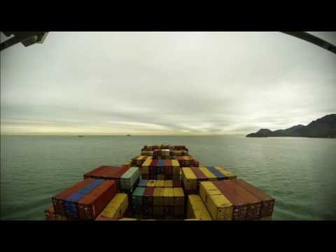 Time-lapse (100x): up the Pearl River Delta, arrival at Port of Nansha (China) [4K / UHD, 60fps]