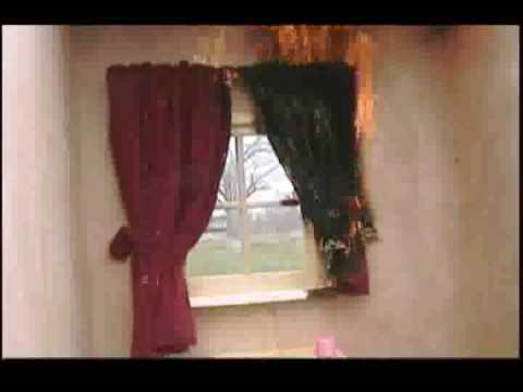 Burnstop Demo - Curtains Protected from Candle Flame