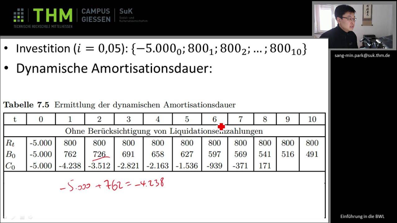 Wiwi 05 Zahlenbeispiel Dynamische Amortisation Youtube
