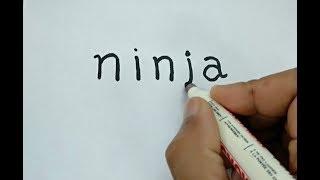 Gambar cover WOOW, cara menggambar NINJA dari kata NINJA
