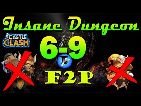 Castle Clash - Insane Dungeon 6-9 [F2P Heroes] Without Mino,sm