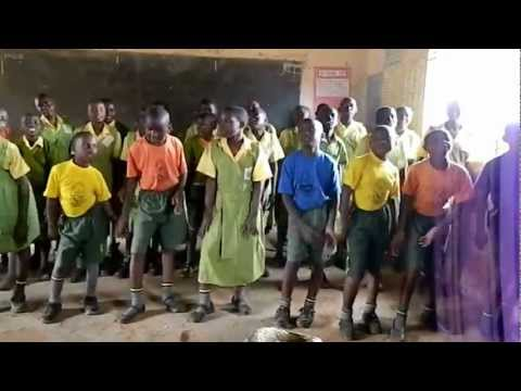 African Children Welcome Song in Uganda Africa