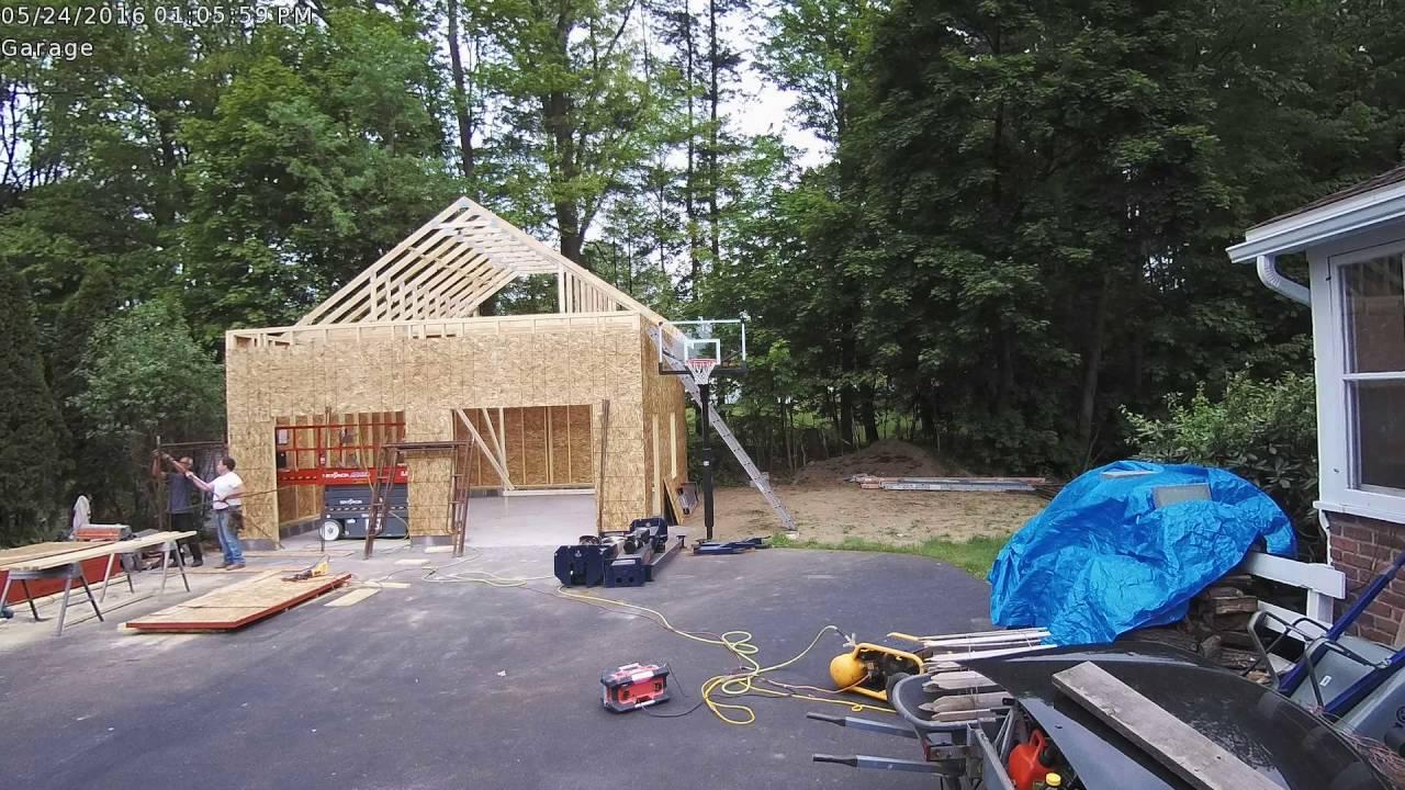 24x24x12 garage attic truss installation time lapse youtube for 24 da 30 garage