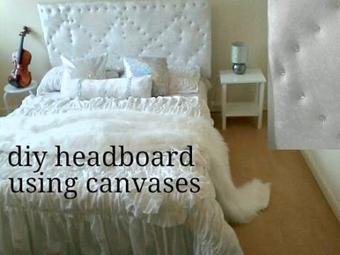 DIY upholstered Headboard using canvases under a low budget