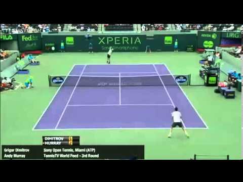 Andy Murray Vs Dimitrov ATP Miami Open 2013 R3 1st Set 7-6