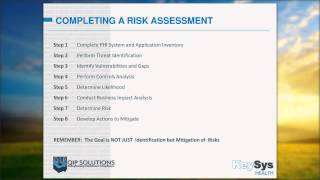 Business Associate Training Part 3: Completing a Risk Assessment