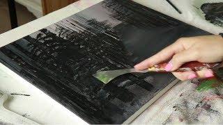 ASMR Painting   Palette Knife   Acrylic on Canvas