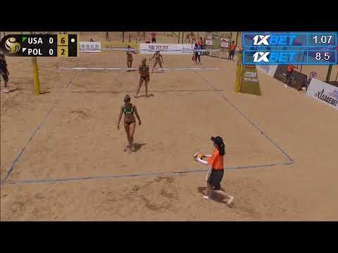 Beach Volleyball - Xiamen - Group Stage - Klineman/Ross (USA) vs Katarzyna/Kolosinska  (POL)